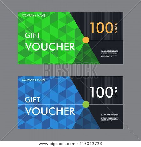Template gift voucher with the background of the triangular elements. Beautiful design certificate