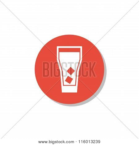 Highball Glass Icon On Red Circle Background