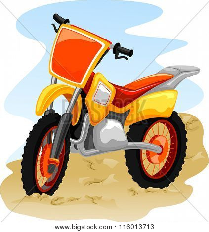 Illustration of a Motocross Bike in the Middle of a Dusty Road