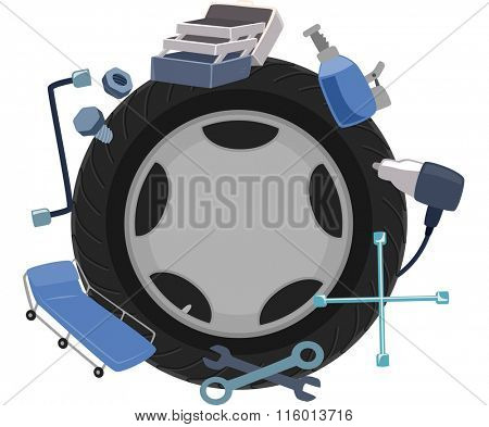 Illustration of a Wheel Surrounded by Mechanical Tools