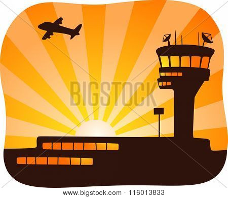 Illustration of a Plane Flying Away from a Control Tower at Sunset