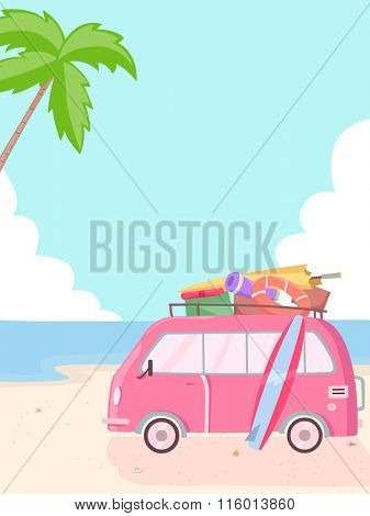 Illustration of a Pink Van Parked Beside the Beach