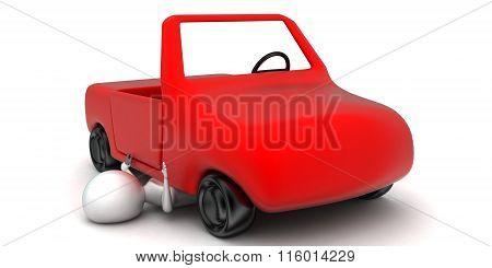 3D Man Reparing A Car Concept