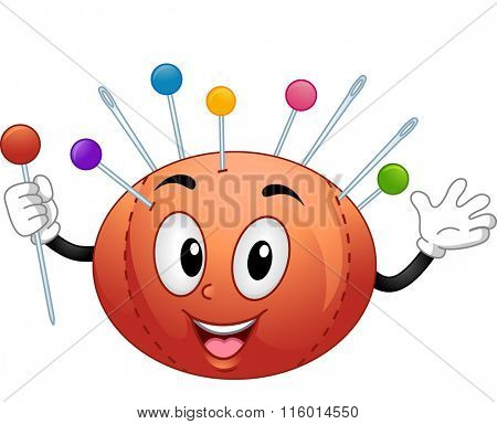 Mascot Illustration of a Pin Cushion Holding a Pin