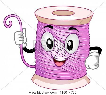 Mascot Illustration of a Spool of Pink Thread