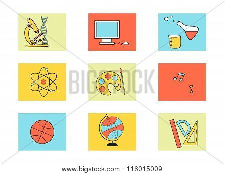 Set of education icons - biology, math, art, informatics, geography, chemistry and other.