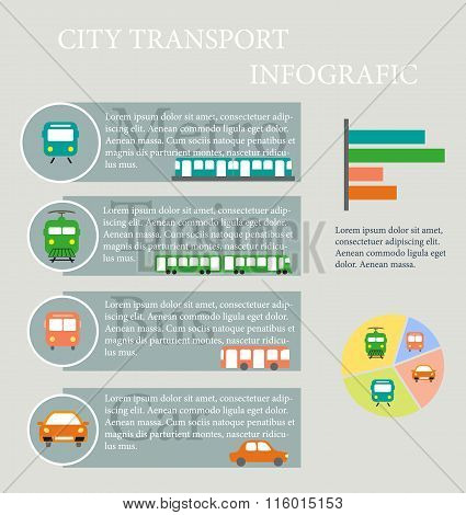 Infographics about the use of different types of public transport - trains, subways, buses and cars.
