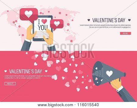 Vector illustration. Flat background with tablet and loudspeaker. Love, hearts. Valentines day. Be m