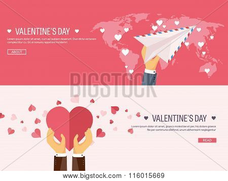 Vector illustration. Flat background with envelope, paper plane and heart in hands. Love, hearts. Va