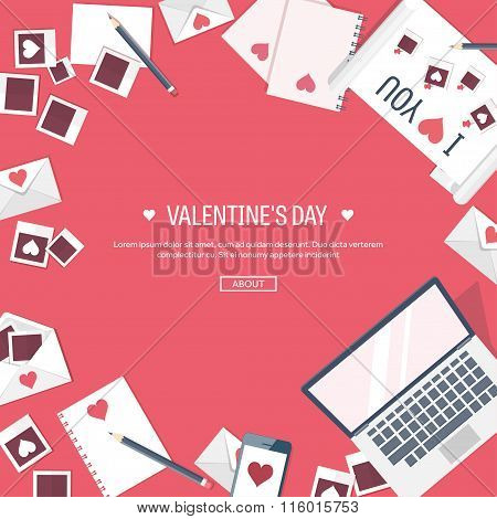 Vector illustration. Flat background with computer, laptop. Love, hearts. Valentines day. Be my vale