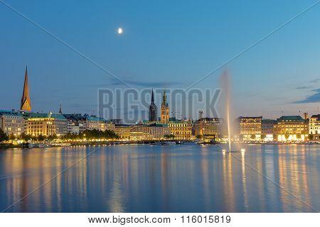 The center of Hamburg at dawn