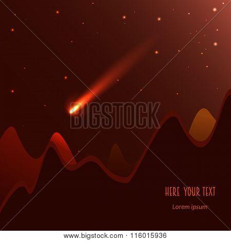 Comet On The Dark   Orange Background. Vector
