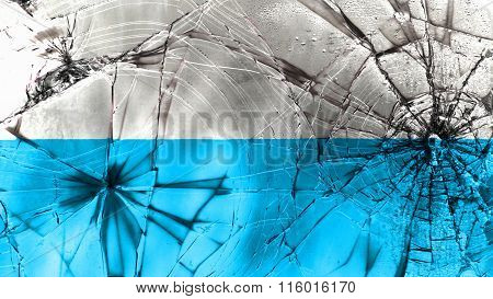 Flag of Virgin Mary, Marian flag, blue and white flag painted on broken glass