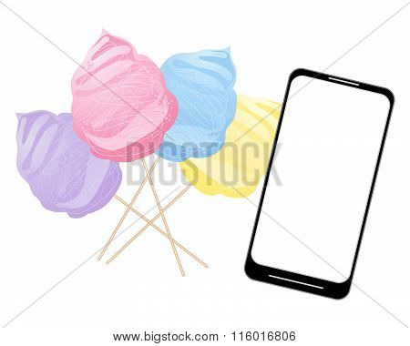 Smart Phone With Cotton Candy