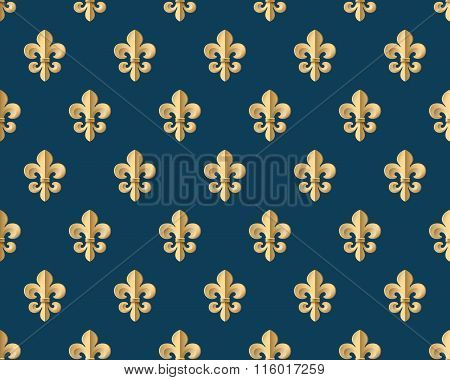 Seamless Gold Pattern With Fleur-de-lys On A Dark Blue Background. Vector Illustration.