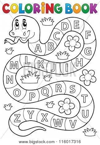 Coloring book snake with alphabet theme - eps10 vector illustration.