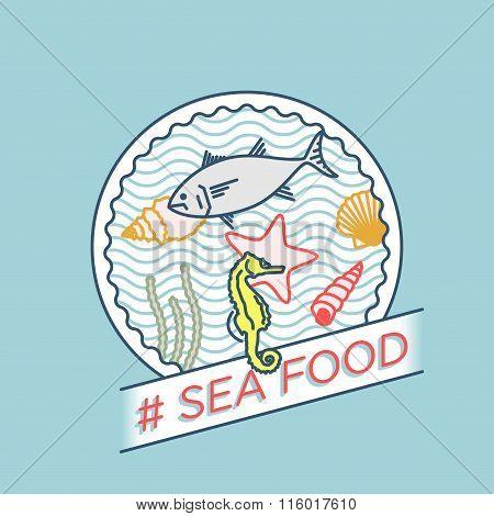 Vector Line Sea Shell Sea Star Moss Tuna Seahorse Badge