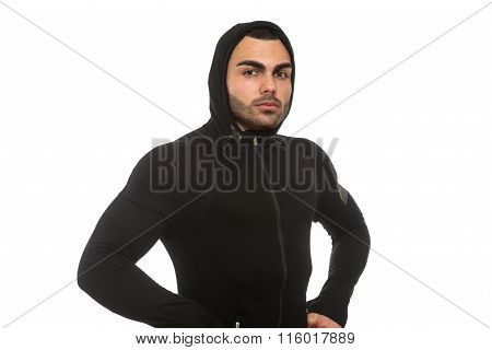 Man In Black Hooded Isolated On White Background