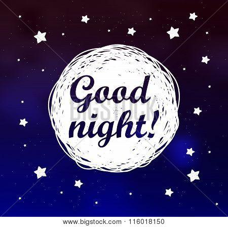 Good Night Card On Sky Background.