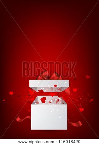 Valentine's red background with gift and hearts. Vector paper illustration.