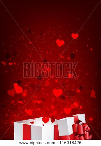 Valentine's background with gift and hearts. Vector paper illustration.