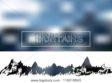Mountains landscape on blur neutral background