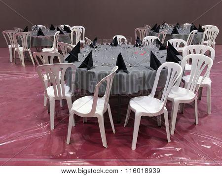 served dinner tables