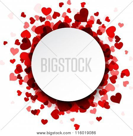 Romantic valentine's 3d card with red hearts. Vector illustration.