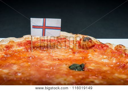 Margherita Pizza With Flag Of Faroe Islands