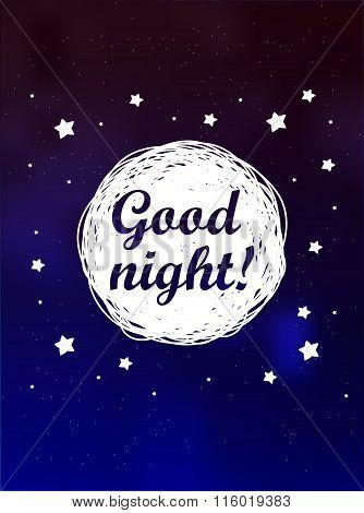 Card Good night on sky background