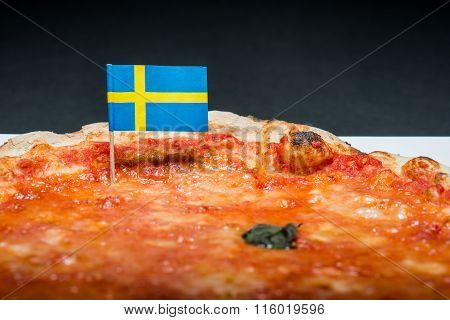 Margherita Pizza With Swedish Flag
