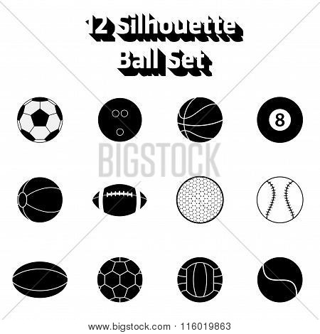 Vector 12 Silhouette Game Ball Icon Set