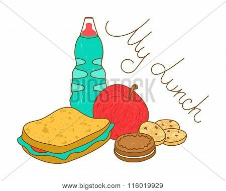 Tasty Fresh Lunch Food. Bottle, Sandwich, Cookies And Apple.