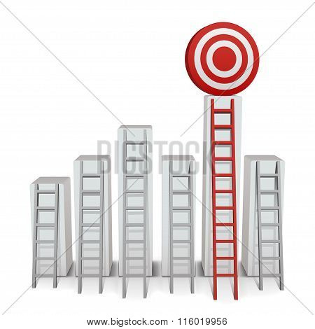 Ladder To Middle Of Target On White Background. Vector Illustration