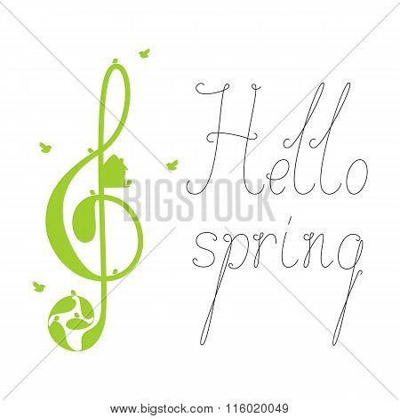Hello Spring Lettering With Treble Clef