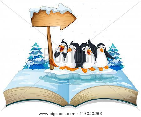 Four penguins standing on ice illustration