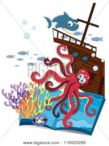 Book of underwater and shipwrecked illustration