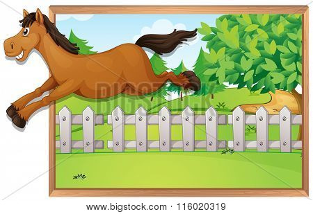Brown horse jumping over the fence illustration