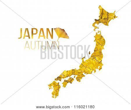 Japan Autumn leaf in Japan map