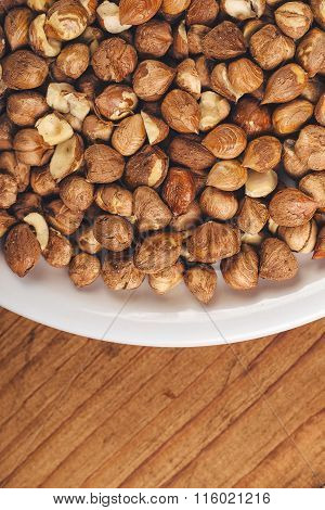 Plenty Of Ripe Hazelnuts On Plate