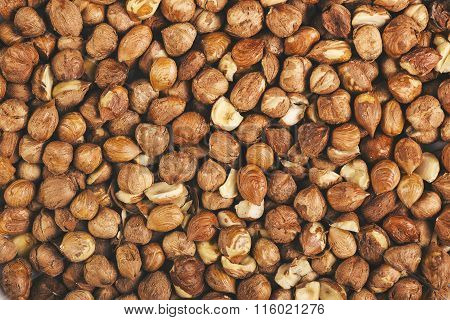 Ripe Hazelnuts As Background