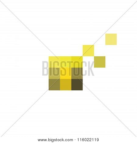 Pixel Letter T in the form of abstraction yellow vector sign into flat style, modern minimalism