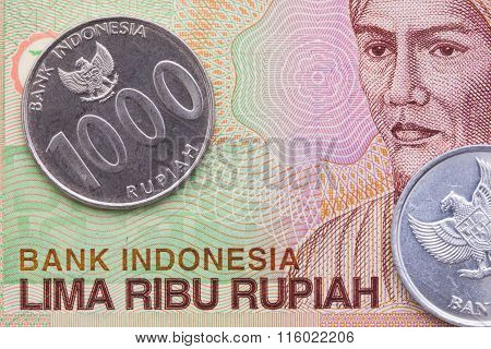Indonesian money rupiah banknote and coins close-up