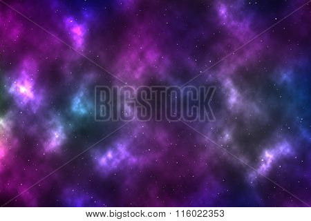 Stars On The Cosmos With Colorful Nebula Background