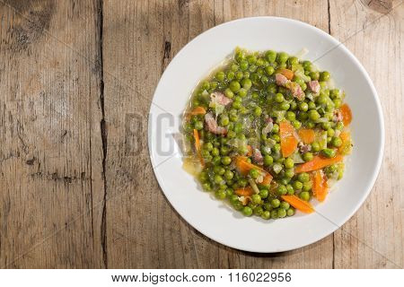 Petit pois a la Francaise looking down on plate
