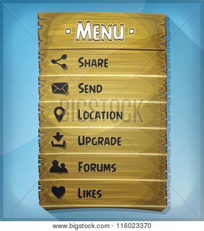 Ui Element And Data Icons On Wood Panel