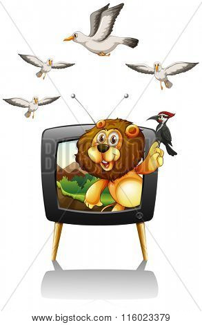 Lion and birds on television screen illustration