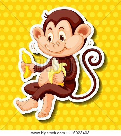 Cute monkey eating banana illustration
