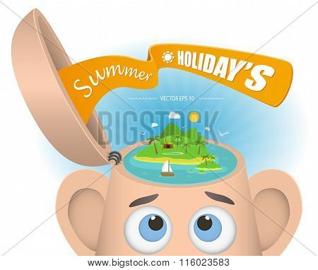 Abstract Creative concept vector illustration of beautiful seaside on head for Web and Mobile Applic