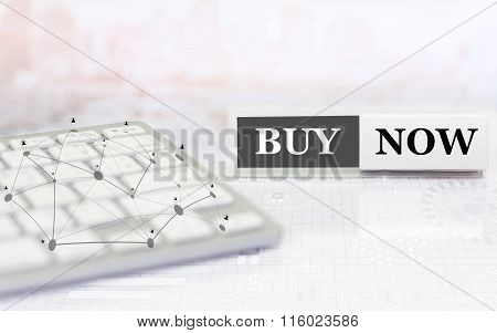 White label with keyboard on the table and text BUY NOW.